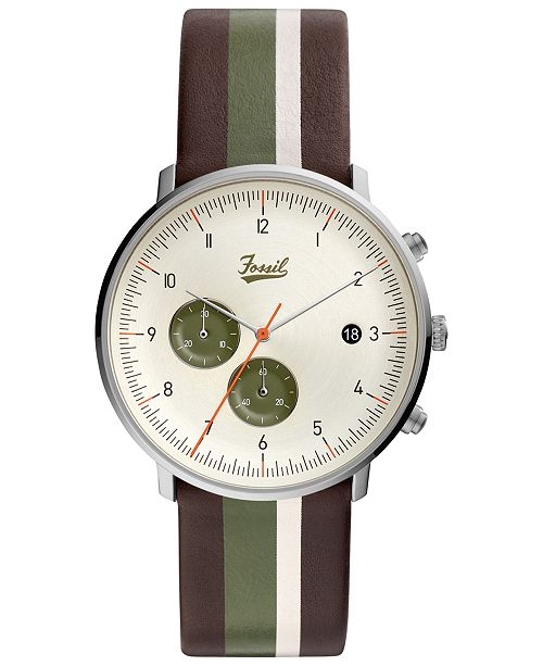 Fossil LIMITED EDITION  Men's Chronograph Chase Timer Striped Brown Leather Strap Watch 42mm, Created for Macy's