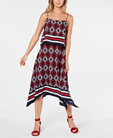 Tommy Hilfiger Printed Popover Midi Dress, Created for Macy's