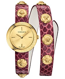 Versace Women's Swiss Icon Burgundy Elaphe Leather Strap 28mm
