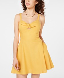 Speechless Juniors' Sweetheart-Neck Fit & Flare Dress