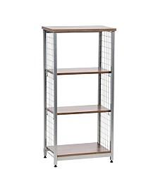 3-Tier Open Mesh Wood-Top Shelf