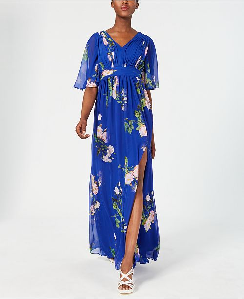 Adrianna Papell Pleated Flutter-Sleeve Gown