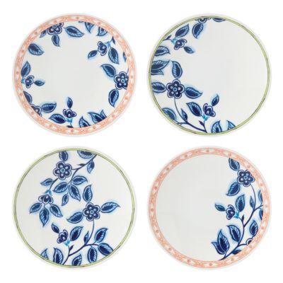 Northern Blossom Melamine Canape Plates, Set of 4