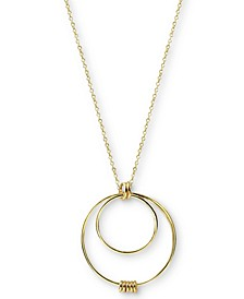 "Multi-Circle Pendant Necklace in Gold-Plated Sterling Silver, 24"" + 2"" extender"