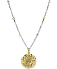 "Two-Tone Flower Etched 18"" Pendant Necklace in Sterling Silver & Gold-Plated Sterling Silver"