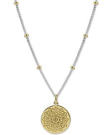 """Argento Vivo Two-Tone Flower Etched 18"""" Pendant Necklace in Sterling Silver & Gold-Plated Sterling Silver"""