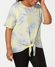Plus Size Tie-Dyed Logo Tie-Front T-Shirt