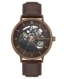 Kenneth Cole New York Men's Mesh Bracelet with Skeleton Automatic Dial, 43MM