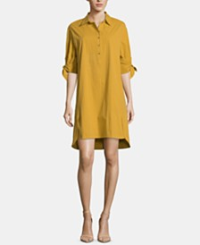ECI Tie-Sleeve High-Low Hem Shirtdress