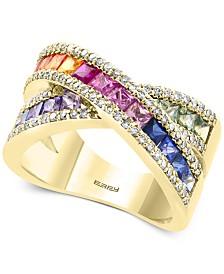 EFFY® Multi-Sapphire (2-1/3 ct. t.w.) & Diamond (3/8 ct. t.w.) Ring in 14k Gold