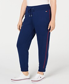 Tommy Hilfiger Sport Plus Size Piping-Trim Joggers, Created for Macy's