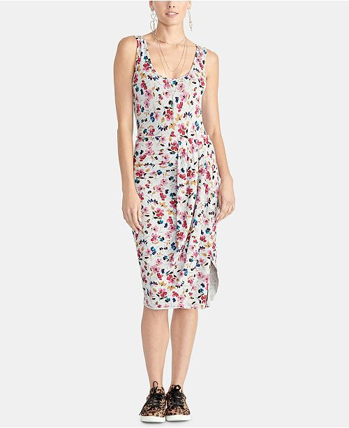 RACHEL Rachel Roy Gabi Floral-Print Draped Bodycon Dress