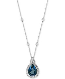 "EFFY® London Blue Topaz (7-7/8 ct. t.w.) & Diamond (7/8 ct. t.w.) 18"" Pendant Necklace in 14k White Gold"