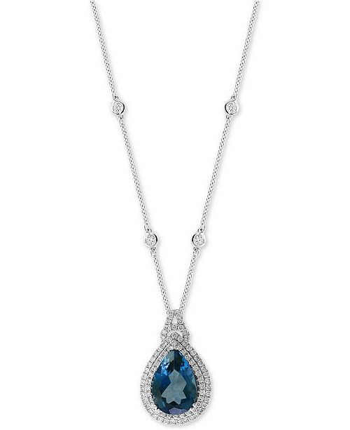 """EFFY Collection EFFY® London Blue Topaz (7-7/8 ct. t.w.) & Diamond (7/8 ct. t.w.) 18"""" Pendant Necklace in 14k White Gold"""