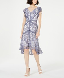 Taylor Petite Floral Lace A-Line Dress