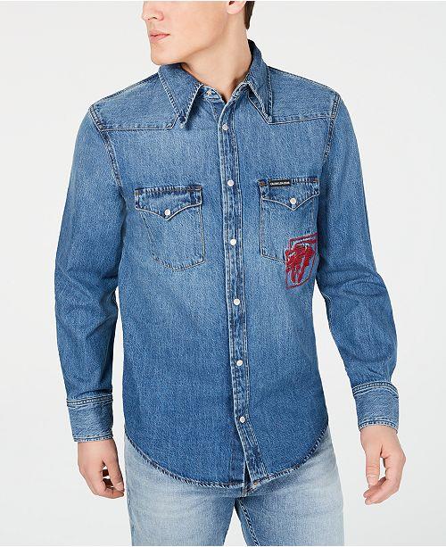 68bfddba ... Calvin Klein Jeans Men's Foundation Bison Embroidered Denim Western  Shirt ...