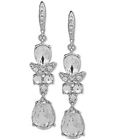Silver-Tone Crystal Double Drop Earrings