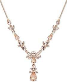 "Gold-Tone Crystal Lariat Necklace, 16"" + 3"" extender"