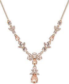 "Givenchy Gold-Tone Crystal Lariat Necklace, 16"" + 3"" extender"