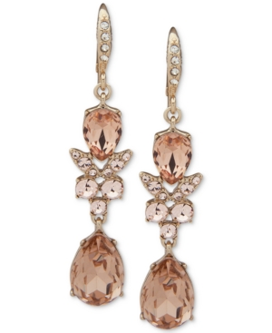 Givenchy Silver-tone Crystal Double Drop Earrings In Gold