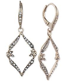 Gold-Tone Pavé Open Drop Earrings