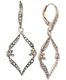 Jenny Packham Gold-Tone Pavé Open Drop Earrings