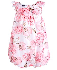 Blueberi Boulevard Baby Girls Floral-Print Chiffon Bubble Romper