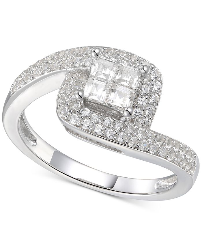 Macy's - Cubic Zirconia Square Halo Twist Ring in Sterling Silver