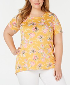NY Collection Plus Size Printed Top and Necklace