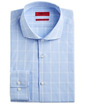 b33fde82 HUGO Hugo Boss Men's Slim-Fit Light Blue Windowpane Dress Shirt