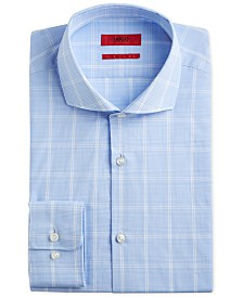HUGO Hugo Boss Men's Slim-Fit Light Blue Windowpane Dress Shirt
