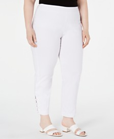 JM Collection Petite Plus Size Ankle-Laced Pull-On Pants, Created for Macys