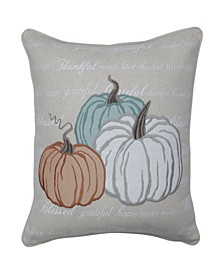 "Pumpkin Applique 18"" Square Harvest Decorative Pillow"