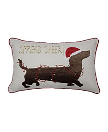 Spread Cheer Daschund Lumbar Pillow