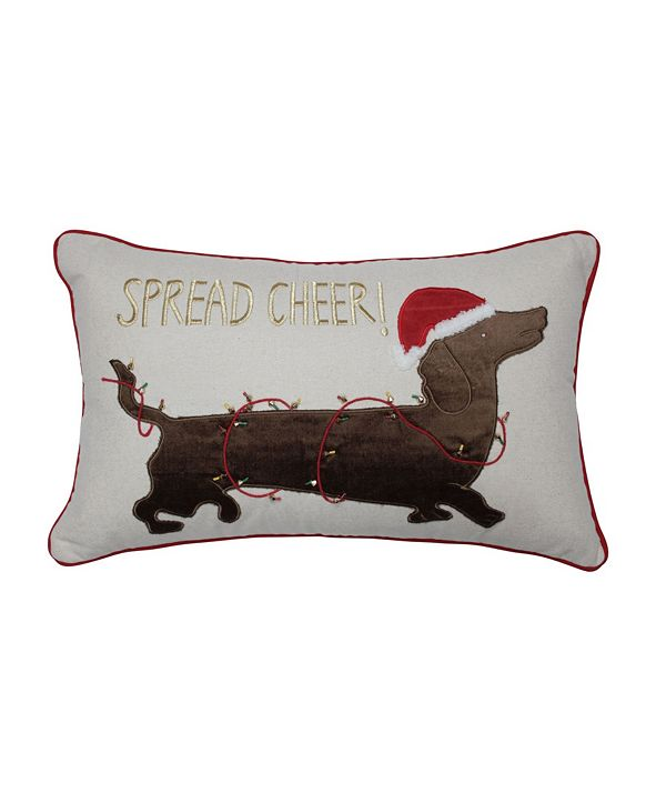 Pillow Perfect Spread Cheer Daschund Lumbar Pillow