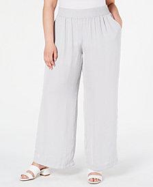 Alfani Plus Size Smocked-Waistband Satin Pants, Created for Macy's