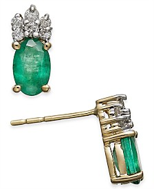Emerald (1 ct. t.w.) & Diamond (1/10 ct. t.w.) Stud Earrings in 14k Gold