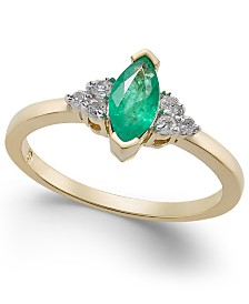 Emerald (5/8 ct. t.w.) & Diamond (1/8 ct. t.w.) Ring in 14k Gold