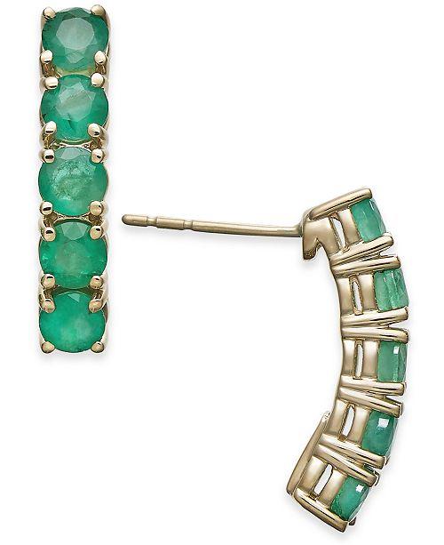 Macy's Emerald Curved Bar Stud Earrings (2 ct. t.w.) in 14k Gold