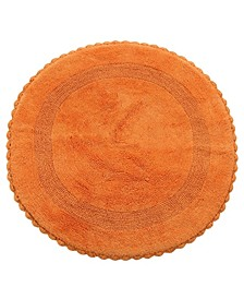"""Crochet Lace Border 36"""" Reversible Cotton Round Bath Rug"""