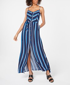 Emerald Sundae Juniors' Sleeveless Striped Maxi Dress