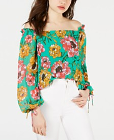 GUESS Andi Off-The-Shoulder Peasant Top