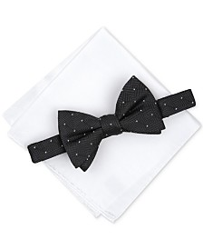 Alfani Men's Dot To-Tie Bow Tie & Solid Pocket Square Set, Created for Macy's