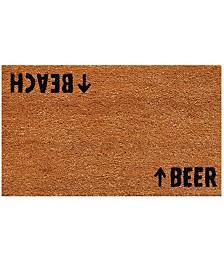 """Beach Beer 17"""" x 29"""" Coir/Vinyl Doormat"""