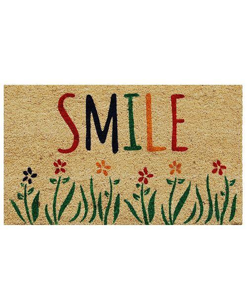 """Home & More Smile 17"""" x 29"""" Coir/Vinyl Doormat"""
