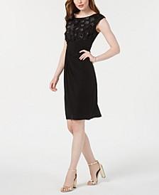 Petite Floral-Appliqué Faux-Wrap Dress