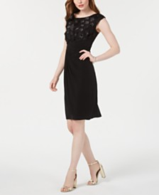 Connected Petite Floral-Appliqué Faux-Wrap Dress