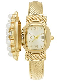 Charter Club Gold-Tone Flip Crystal & Imitation Pearl Cluster Bracelet Watch 35mm, Created for Macy's