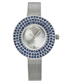Charter Club Silver-Tone Crystal-Halo Mesh Bracelet Watch 31mm, Created for Macy's