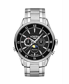 Men's 3 Hands Moonphase 43 mm Dress Watch in Stainless Steel Case and Bracelet